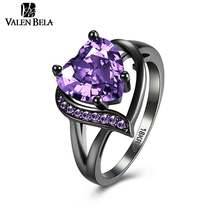 VALEN BELA HOT Red Heart Black Finger Women Ring New Fashion Popular Zirconia Aros Rings for Girls LOVE JZ5023