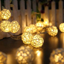 EU/US 5M Warm White String Lighting 20 LED Rattan Ball Holiday Christmas Lamp Wedding Party Decoration Light Lamps Battery Box