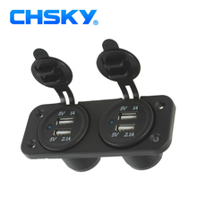 CHSKY Waterproof Dual USB 5V 3.1A Motorcycle Car Charger Power Adapter Cigarette Lighter Socket Mobile Phones GPS Camera MP3