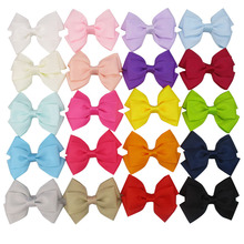 "20pcs/lot 3"" Solid Grosgrain Ribbon Bow Tie Hair Bow Clips For Girls Kid Children Alligator Clip Baby Ribbon Infant Bow Headband(China)"