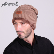 [AETRENDS] New Year Winter Beanies Hats for Men Warm Knit Cap With Velvet Inside 6 Colors Available Z-1325()