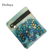 DICIHAYA New Elephant Wallet Real Leather Women Mini Wallets Mujer Animal Print Purse High Quality Woman Card Holder Wallets