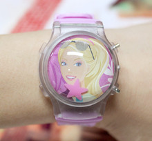 Factory Price 10PCS/LOT Hot Sale Ball Shape Barbee Cartoon Wristwatches Children Led Watches Color Light Flashing Girl's Watches