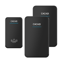 CACAZI waterproof wireless doorbell AC 100-240V EU/US/UK plug door bell 1 transmitter+2 receivers 48 rings 6 volume door chime(China)