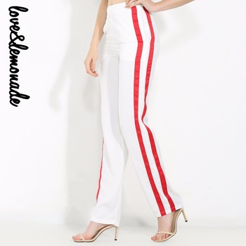 Love&Lemonade White and Red Stitching Slits Straight Pants  TB 10013