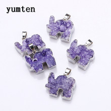 Yumten 25MM Crystal Pendant Elephant Charms Natural The Geode Clusters Buds Ribbon Necklace Jewelry Gift Colar Feminino Chokers