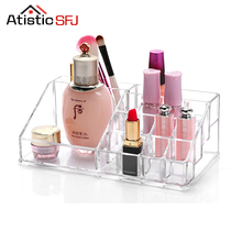 Crystal Acrylic Cosmetic box Organizer Makeup Jewelry Storage Lipstick make-up brush Holder Display Box Acrylic Case Stand Rack(China)