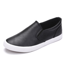 New 2017 High Quality Shoes Men Soft Leather Casual Shoes Men's Loafers Male Brand Shoes Black White Slip on ZH2273(China)