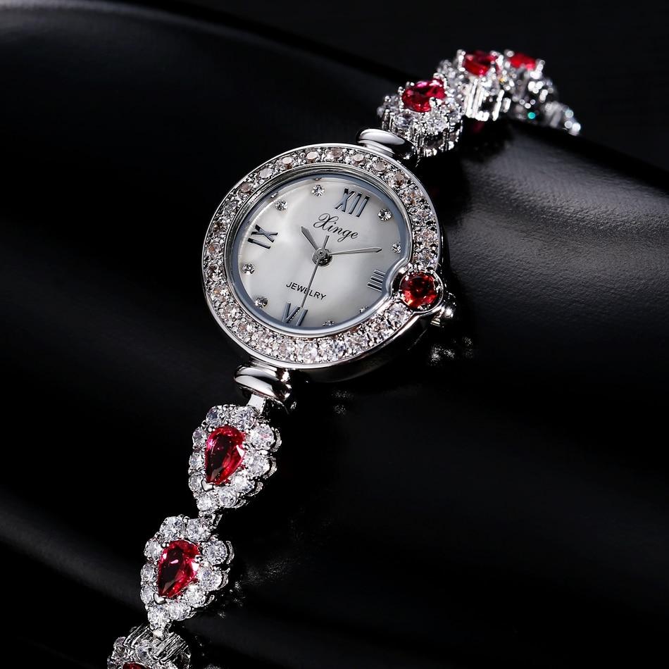 Xinge Luxury Brand Women Dress Silver Watches Full Steel Gemstone Wristwatches Women Bracelet Watch Ladies Wrist Watch Female<br>