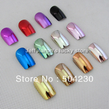 144PCS 12 Metallic Color Metal Plating False French Acrylic Nail Tips With Nail Glue 12 sizes(China)