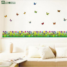 Flowers Butterfly Skirting Board Can Move Wall Stickers Wholesale Double-Sided Glass Paste Living Room Bedroom Decorative Sticke(China)