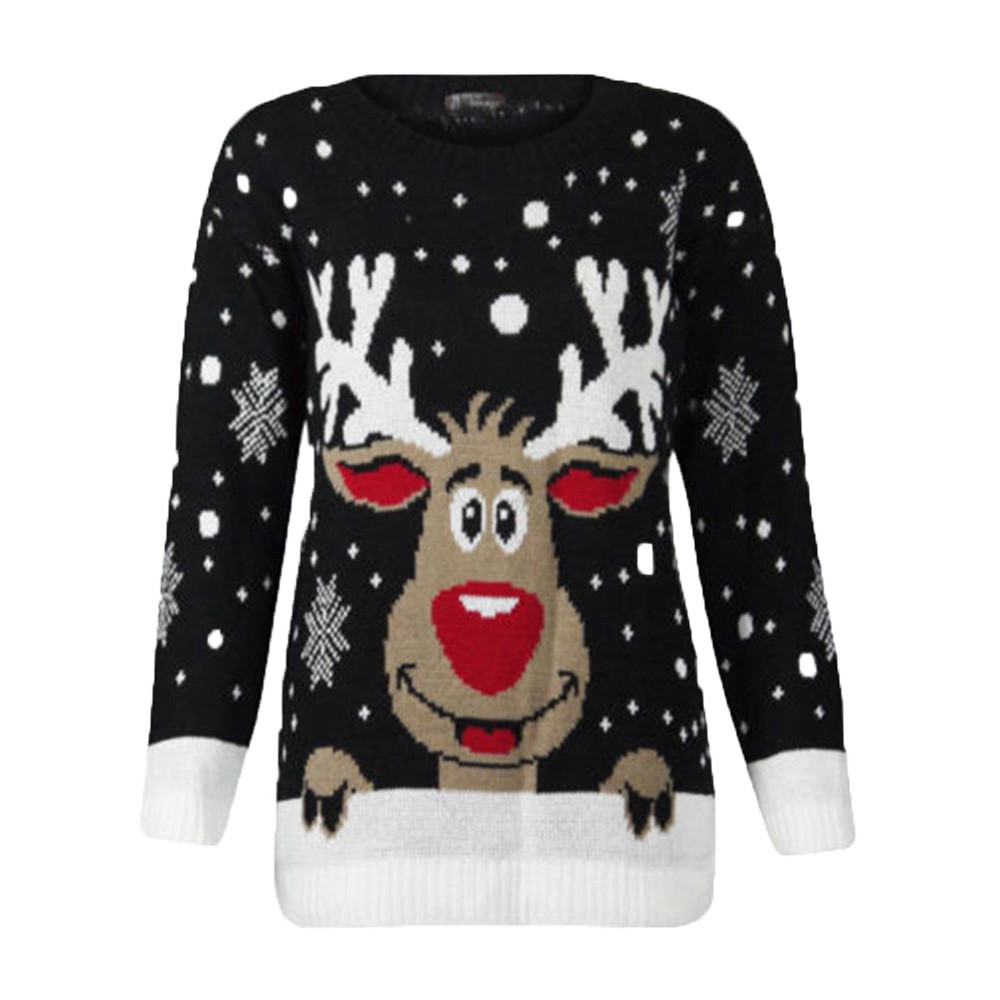 2018 NEW Liva girl Women ladies Christmas Deer Warm Knitted Long Sleeve Sweater women