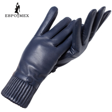 Genuine Leather glove Good quality gloves female Fashion leather gloves Vintage winter gloves women black Weatherization(China)