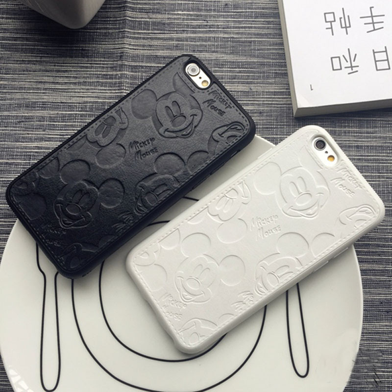 JiBan Retail Luxury Pu leather Pink Cute Mickey Mouse Cases For iPhone 6 6plus 6s plus 7 7plus White Black Cartoon Covers(China)