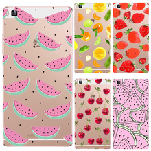 P8 Soft TPU For Huawei P8 Cases Case Phone Shell Summer Fruit Series Painted Pink Watermelon Sweet Cherries Cool Lemon Best Hot