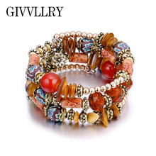 GIVVLLRY Ethnic Handmade Bracelet Indian Jewelry Bohemian Multilayers Acrylic Shell Wood Beaded Bangles Bracelets for Women(China)