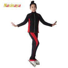 Costume Customized Clothes Ice Skating Figure Skating Suit Jacket And Pants Warm Fleece Adult Child Girl 4 Colors Stripes(China)
