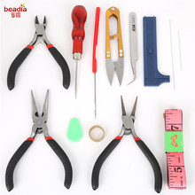 13-16pcs/Set Stainless Steel Jewelry Beading Needles Findings Crimping Ruller Scissors Tweezer Crimper Pliers Tool Free Shipping