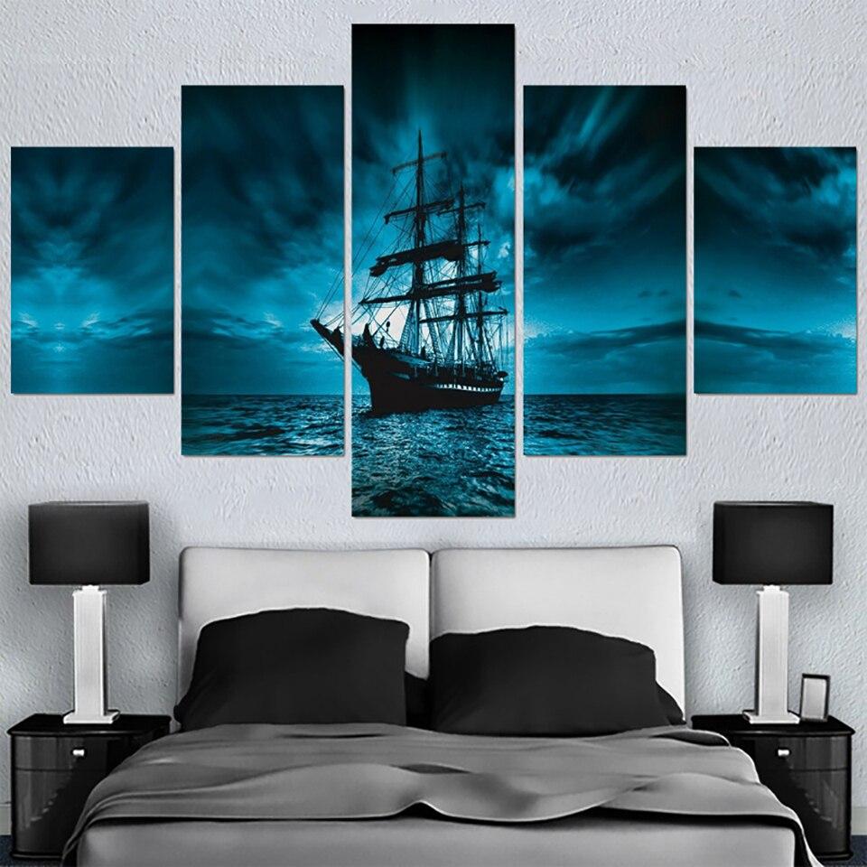 Sailing Ship Sunset Pirate 5 Panel Canvas Print Wall Art