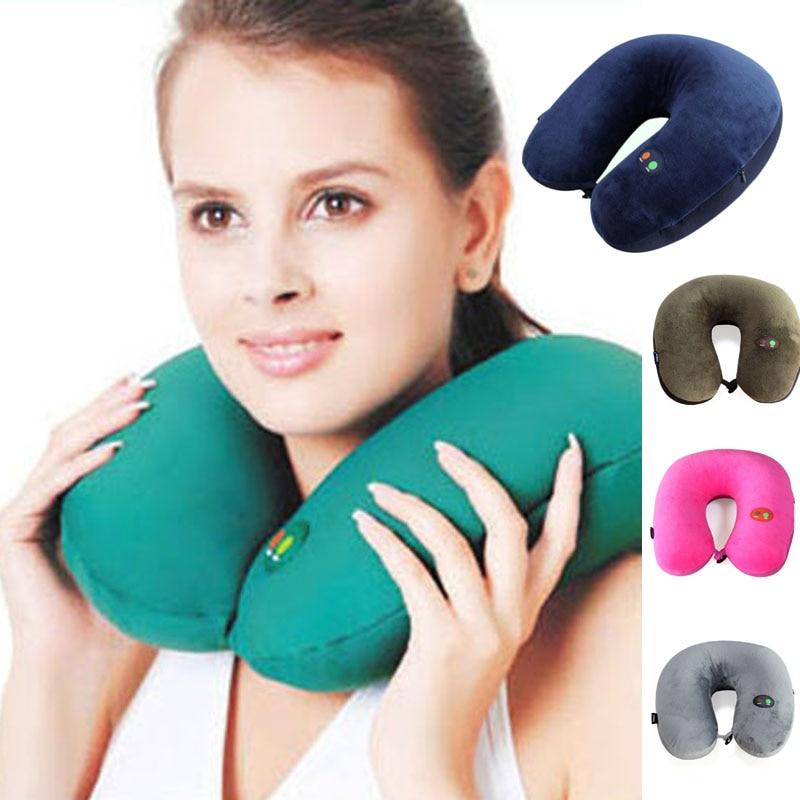 USB Electric U Pillow Massager Cervical Massage Vibrator Pillow Six Modes Adjustable Massager Foam Inflatable U Cushion Pillow <br>