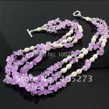 Wholesale Pearl Jewelry AA 4MM-9MM White Genuine Freshwater Pearl + purple Crystal + Silver Necklace 18inch New Free Shipping