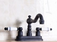 Deck Mounted Ceramic Handles Bathroom Faucet Basin Sink Mixer Taps Black Oil Rubbed Bronze Finish Faucets lnf158