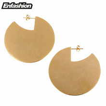 Enfashion Vintage Large Circle Dangle Earrings Matte Gold color Earings Drop Earrings For Women Long Earring Jewelry brinco(China)