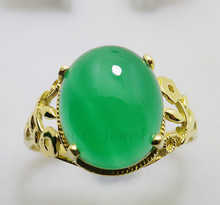 Chalcedony ring 18K gold rings Per Jewelry Natural and real chalcedony Fine jewelry Green gem #15010104