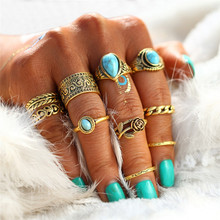 Hot Fashion Bohemia Midi Rings 10 Pieces/Sets For Women Antique Silver&Gold Color Totem Turquoises Knuckle Ring Bagues Femme(China)