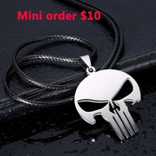 New men jewelry 316L stainless steel MARVEL SKULL The PUNISHER batman silver leather Pendant Necklace for men women