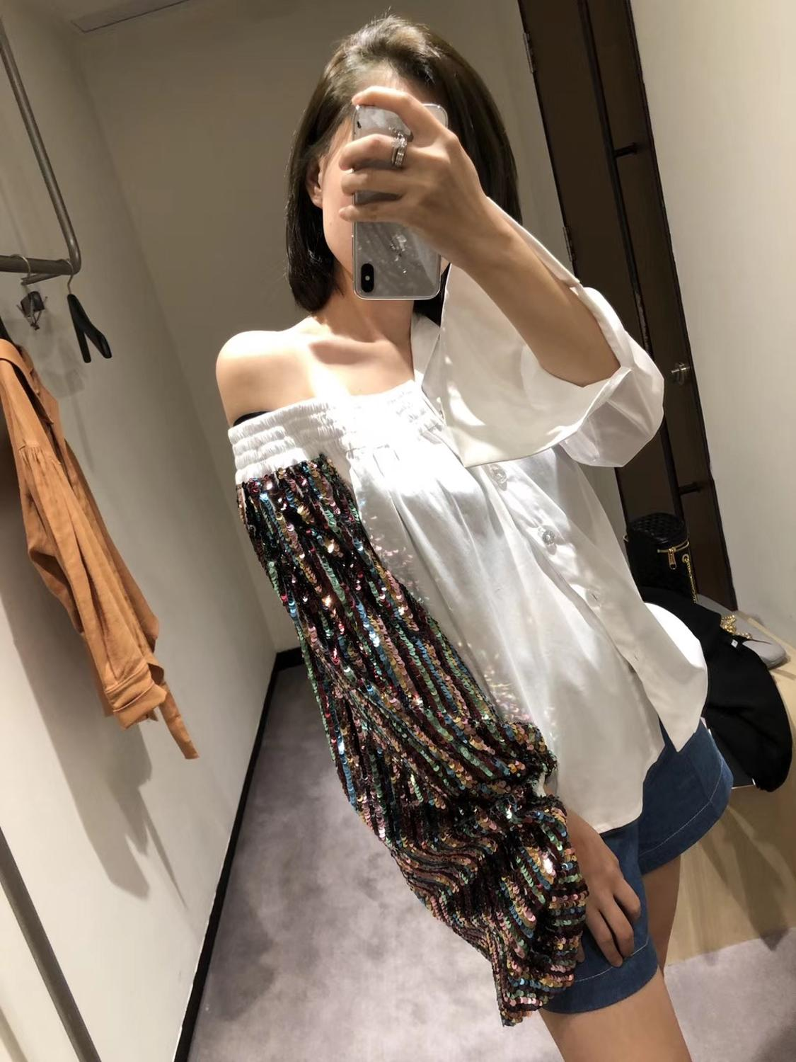 Celebrity women irregular white off shoulder colorful sequined blouse puff sleeve new lady high streetwear shirts