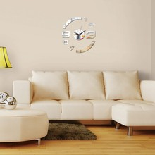 new creative arc acrylic mirror wall clock watch stereo modern design living room quartz decorative