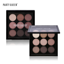 Party Queen 9 Colors Artist Eyeshadow Palette Earth Color Shimmer Matte Naked Eye Shadow Pigments Glitter Eyeshadow Makeup Nude