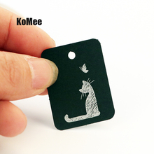 100pcs 2.6*3.3cm Square Kraft Paper Jewelry Display Card Labels Cute Cat Hangtag 8Colors Paper Price Tag Labels Packaging cards