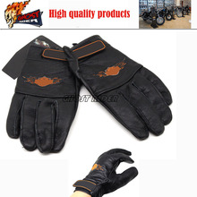2016 hot sale motorcyclists leather gloves long section of men's leather motorcycle gloves flame gloves fits for Harley 1##