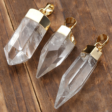 Ayliss Natural Clear Rock Quartz Crystal Pendant Druzy Stones Quartz Crystals Pendants For Necklace Jewelry H:39-48mm/W:9-13mm