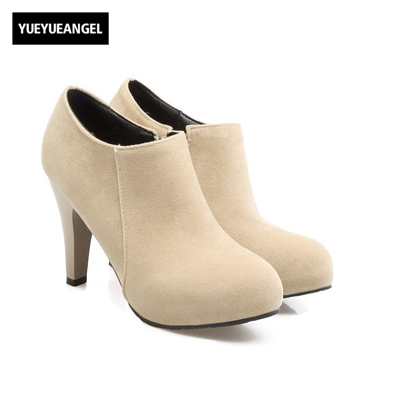 Sweet Girls Faux Suede Ankle Boots Plus Size 32-45 Womens Boots Zip High Heel Round Toe Office Lady Winter Shoes Free Shipping<br>