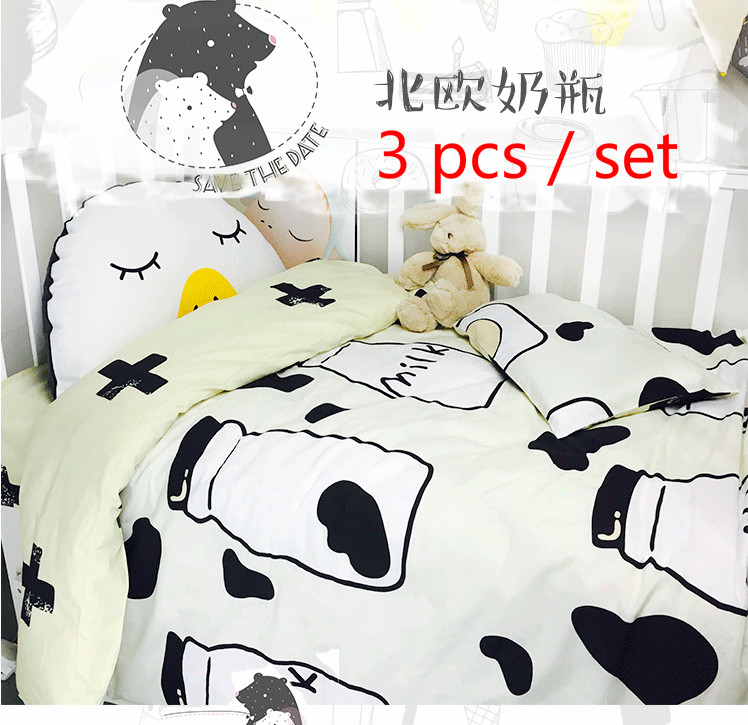 Infant bedding set newborn crib bedding set cute Milk bottle and Cows design with bed sheet quilt cover and pillowcase baby bed<br>