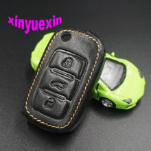 Xinyuexin Leather Car Key Cover FOB Case For VW  Jetta Golf Passat Beetle Polo Bora Flip Remote Car Key Jacket With Keychain