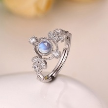 Top Quality Natural Moonstone Rings For Women 925 Sterling Silver Vintage Jewelry Gift