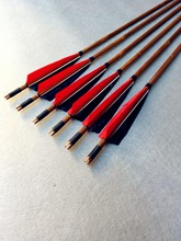6 pk traditional handmade red and black turkey feather real Indoor shooting bamboo arrows recurve longbow hunters lovers(China)