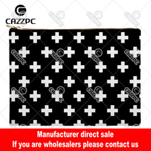 Black and White Cross Geometry Canvas Pattern Print Cosmetic Bag Makeup Pouch Wristlet Hand Bag(China)