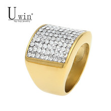 UWIN New Men's Stainless Steel Ring Iced Out Bling Bling Rhinestone Crystal Gold Color Punk Rings Fashion Hip Hop Jewelry