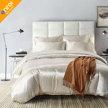 High Quality Duvet Cover Set Cheap Colorful Solid Color Bedding Sets Suppliers Silk Double Queen King Black White Silver Grey(China)