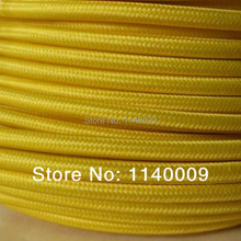 10 meters Yellow Color 2*0.75mm2 Textile Electrical Wire Color Braided Wire Fabric Covered Electrical Power Cord Wire Cable(China)