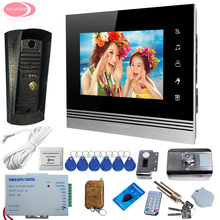 Video Door Phone 7 inches Colors Monitor + Metal Waterproof Pinhole Camera Smart House Wired Video Door Entry Electric Lock kit(China)