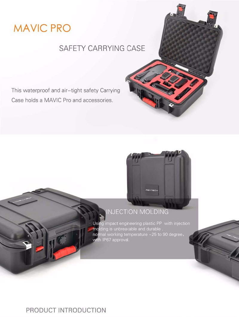 Mavic Pro Safety Carrying Case Waterproof Air-Tight Storage Box Hard EVA Carry Case for DJI Mavic Drone and Accessories PGYTECH