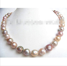 Free Shipping 11mm PINK PURPLE round natural SOUTH Reborn keshi pearls necklace b1230^^^@^Noble style Natural Fine   ()