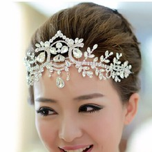 Silver Plated Crystal Latin Dance Hair Accessories Wedding Tiaras Hair Jewelry Bridal Forehead Head Piece Crystal Head Chain(China)