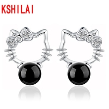 2017 Korean girl cute cat Hello Kitty Crystal bow red black onyx earrings ear fashion jewelry wholesale jewelry hollow design(China)